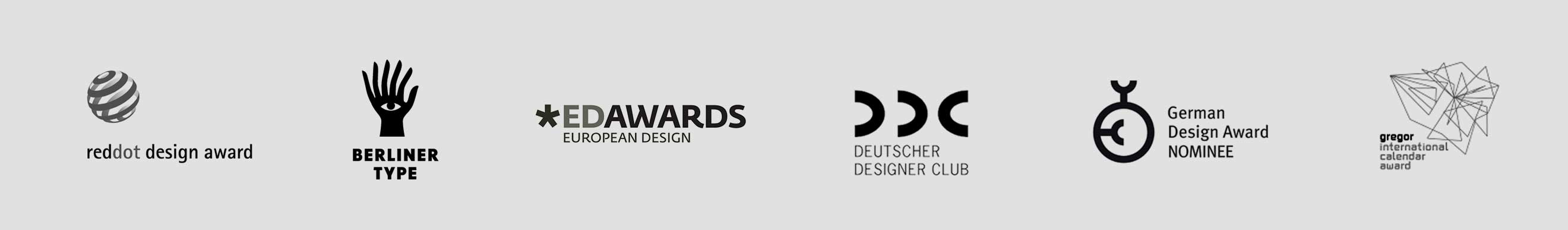 Zufallskalender Awards, reddot design award, Berliner Type, European Design Awards, DDC Award, German Design Award Nominee, gregor international calendar award